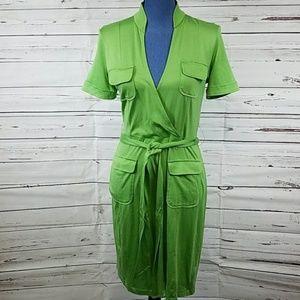 Green Silk/Cotton Banana Republic Faux Wrap Dress